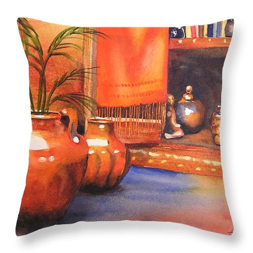 Pottery Throw Pillow featuring the painting Orange Scarf by Karen Stark