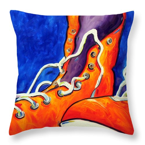 Pop Art Throw Pillow featuring the painting Orange Sneakers by Laurie Pace