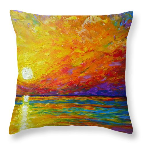 Landscape Throw Pillow featuring the painting Orange Sunset by Ericka Herazo