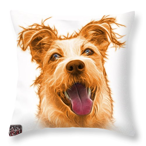 Terrier Throw Pillow featuring the painting Orange Terrier Mix 2989 - Wb by James Ahn