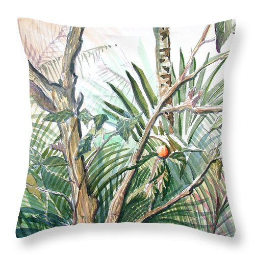 Fruit Throw Pillow featuring the painting Orange Tree by Mindy Newman