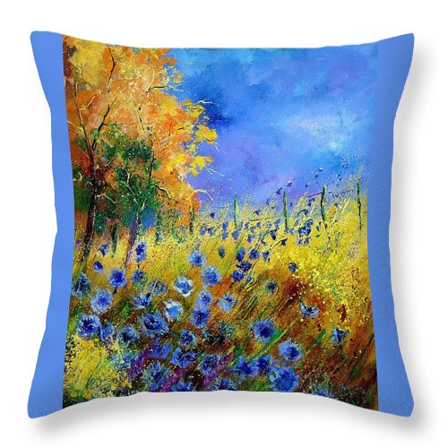 Flowers Throw Pillow featuring the painting Orange Trees by Pol Ledent