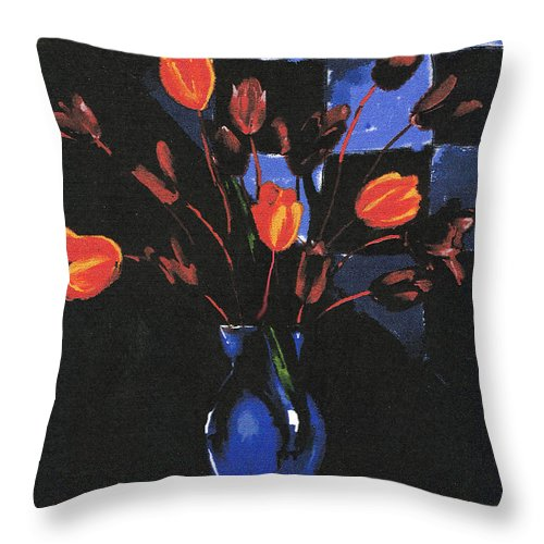 Tulip Throw Pillow featuring the digital art Orange Tulips by Arline Wagner