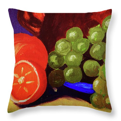 Oranges Throw Pillow featuring the photograph Oranges And Grapes by Toni Hopper