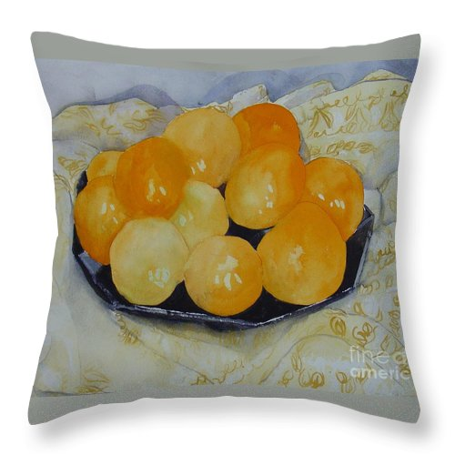 Still Life Watercolor Original Leilaatkinson Oranges Throw Pillow featuring the painting Oranges by Leila Atkinson