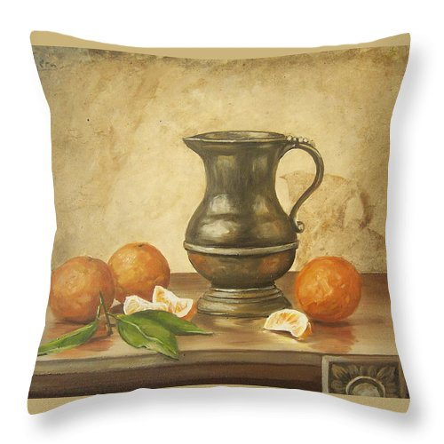 Still Life Throw Pillow featuring the painting Oranges by Natalia Tejera
