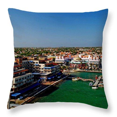Aruba Throw Pillow featuring the photograph Oranjestad Aruba by Gary Wonning