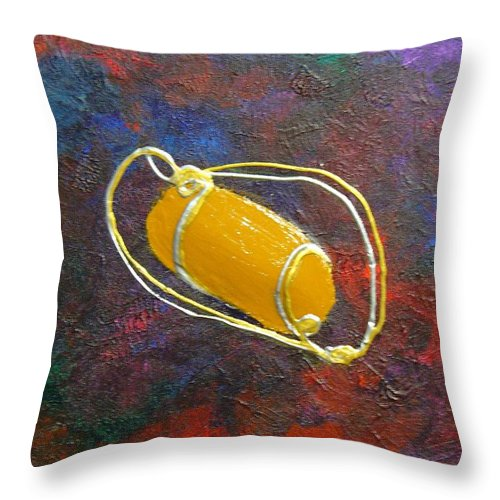 Abstract Throw Pillow featuring the mixed media Orbit by Peggy King