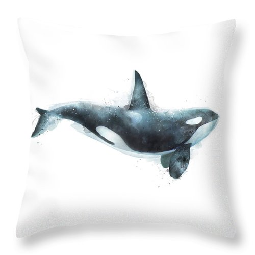 Orca Throw Pillow featuring the painting Orca by Amy Hamilton