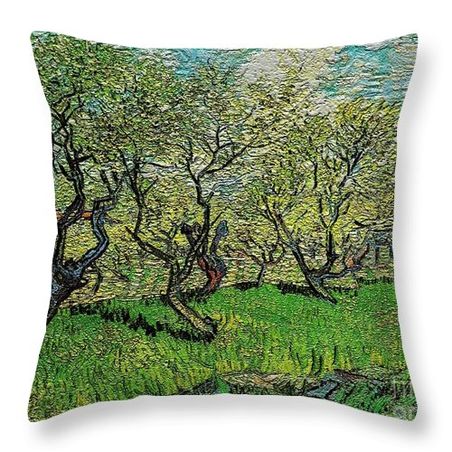 Modern Painting Throw Pillow featuring the digital art Orchard In Blossom by Pemaro
