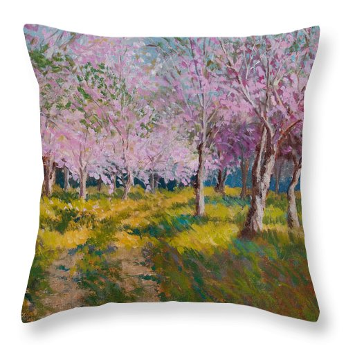 Impressionism Throw Pillow featuring the painting Orchard Light by Keith Burgess