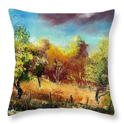 Flowers Throw Pillow featuring the painting Orchard by Pol Ledent