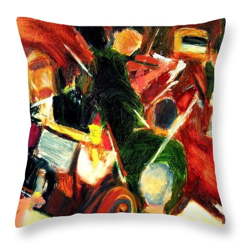 Dornberg Throw Pillow featuring the painting Orchestra In Abstract by Bob Dornberg