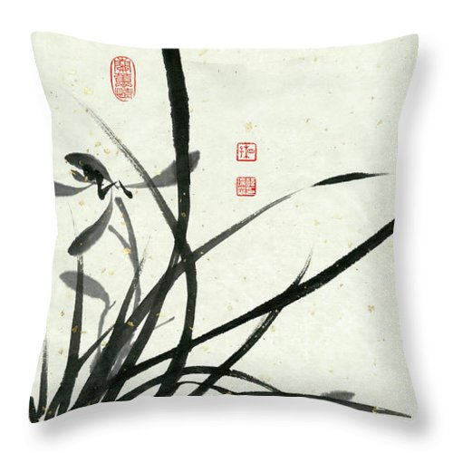 Orchid Throw Pillow featuring the painting Orchid - 29 by River Han