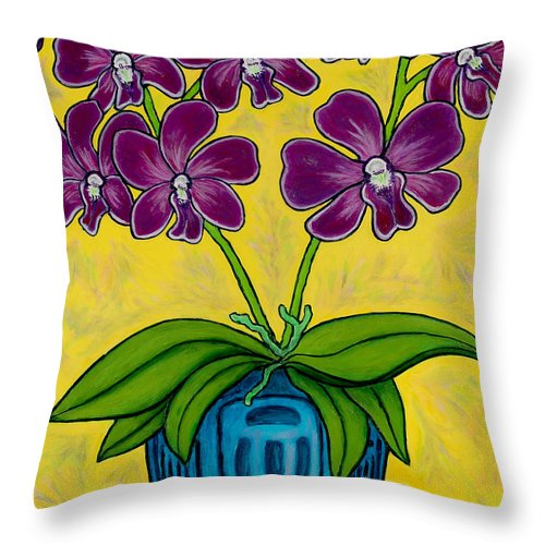 Orchids Throw Pillow featuring the painting Orchid Delight by Lisa Lorenz