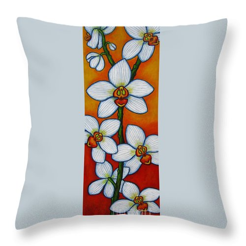 Orchids Throw Pillow featuring the painting Orchid Oasis by Lisa Lorenz
