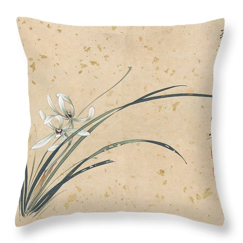 Lotus Plum Peony Flower Throw Pillow featuring the painting Orchid by Zhang Daqian