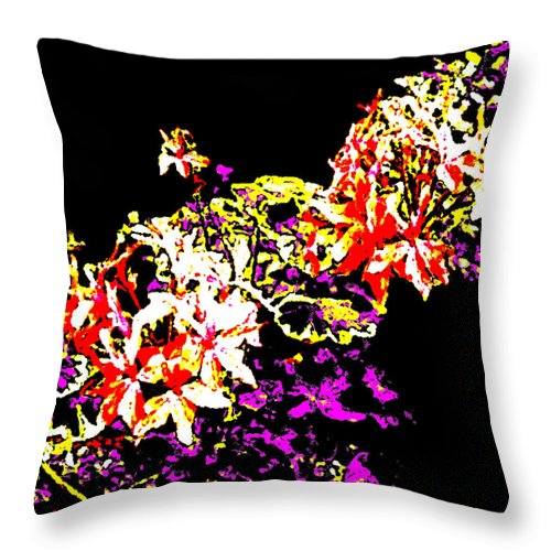 Square Throw Pillow featuring the digital art Orchidelia by Eikoni Images
