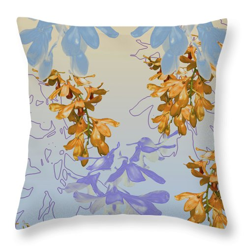 Orchids Throw Pillow featuring the digital art Orchids 3 by Ceil Diskin