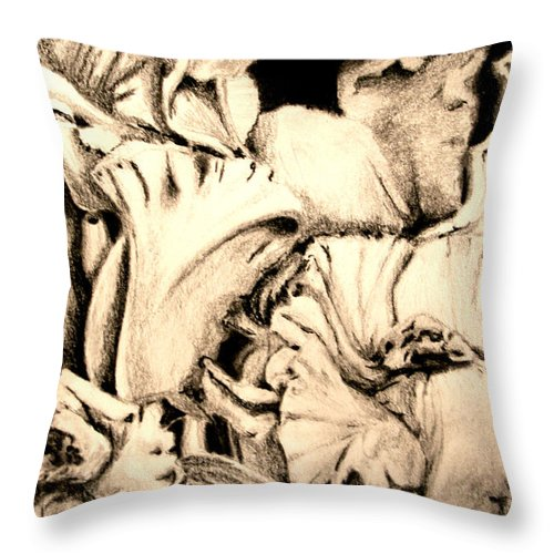 Flowers Throw Pillow featuring the drawing Orchids by Ann Sokolovich