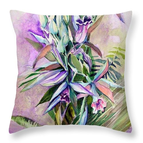Orchids Throw Pillow featuring the painting Orchids- Botanicals by Mindy Newman