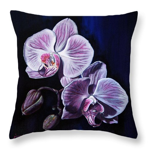 Flowers Throw Pillow featuring the painting Orchids II by Joan Garcia