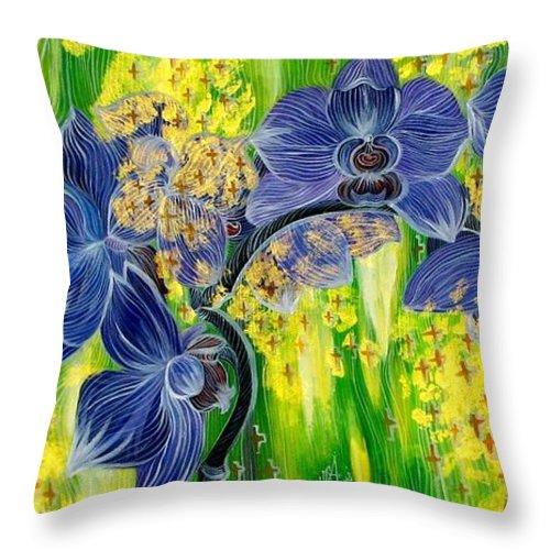 Inga Vereshchagina Throw Pillow featuring the painting Orchids In A Gold Rain by Inga Vereshchagina
