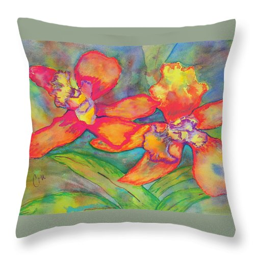 Flowers Throw Pillow featuring the painting Orchids In Paradise by Cori Solomon