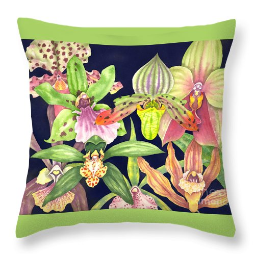 Orchids Throw Pillow featuring the painting Orchids by Lucy Arnold