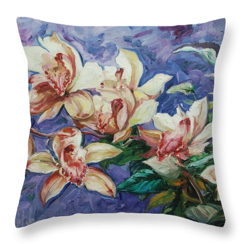 Flowers Throw Pillow featuring the painting Orchids by Rick Nederlof