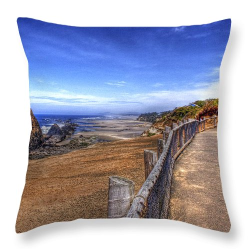 Scenic Throw Pillow featuring the photograph Oregon Coast 2 by Lee Santa