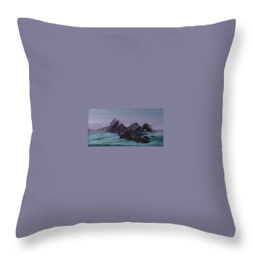 Impressionism Throw Pillow featuring the painting Oregon Coast Seal Rock Mist by Quin Sweetman