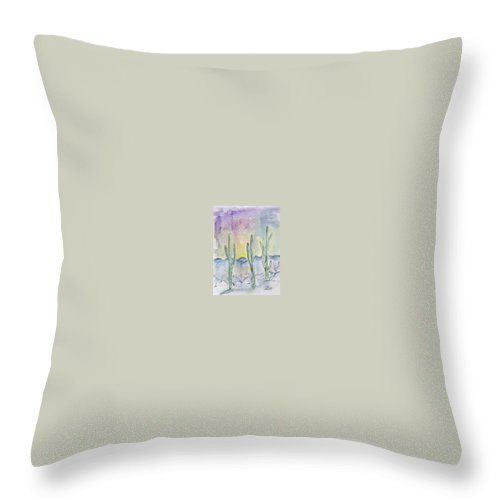 Impressionistic Throw Pillow featuring the painting Organ Pipe Cactus Desert Southwestern Painting Poster Print by Derek Mccrea
