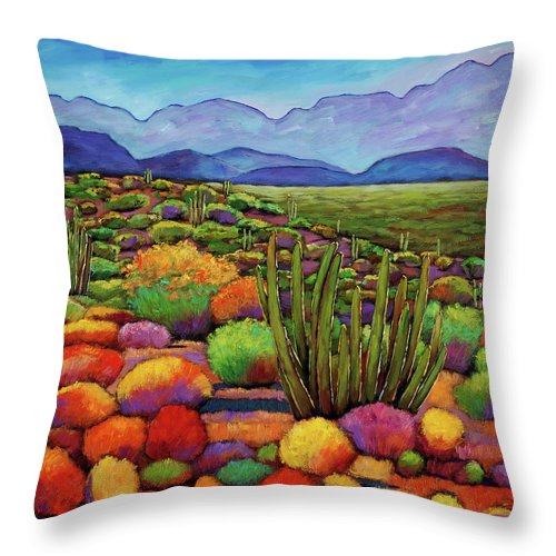 Desert Landscape Throw Pillow featuring the painting Organ Pipe by Johnathan Harris