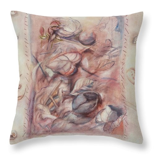 Shells Throw Pillow featuring the painting Organic Co-existence by Kerryn Madsen-Pietsch