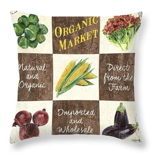 Organic Throw Pillow featuring the painting Organic Market Patch by Debbie DeWitt