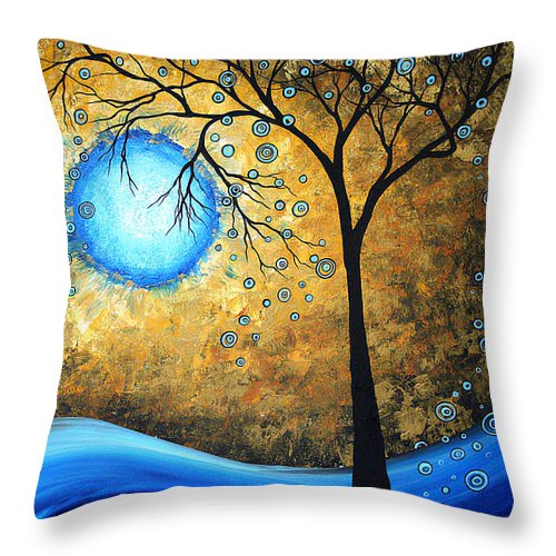 Abstract Throw Pillow featuring the painting Orginal Abstract Landscape Painting Blue Fire By Madart by Megan Duncanson