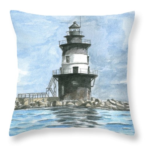 Lighthouse Throw Pillow featuring the painting Orient Point Lighthouse by Dominic White