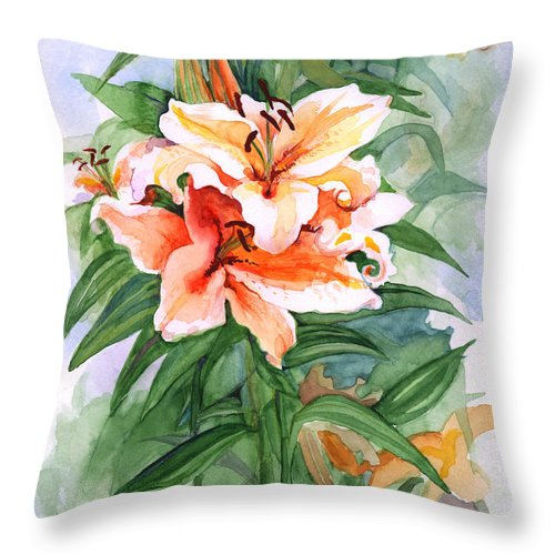 Lily Throw Pillow featuring the painting Oriental Lilies by Nancy Watson
