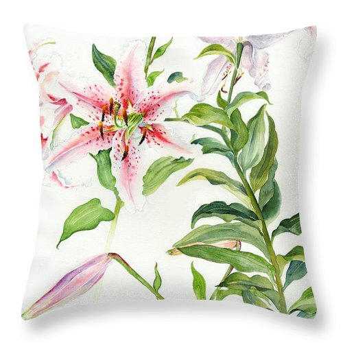 Lily Oriental Mona Lisa Liliaceae Throw Pillow featuring the painting Oriental Lily Mona Lisa Liliaceae by Sandra Phryce-Jones