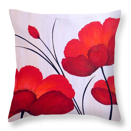 Poppies Throw Pillow featuring the painting Oriental Poppies by Carol Sabo