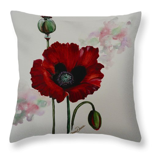 Floral Poppy Red Flower Throw Pillow featuring the painting Oriental Poppy by Karin Dawn Kelshall- Best