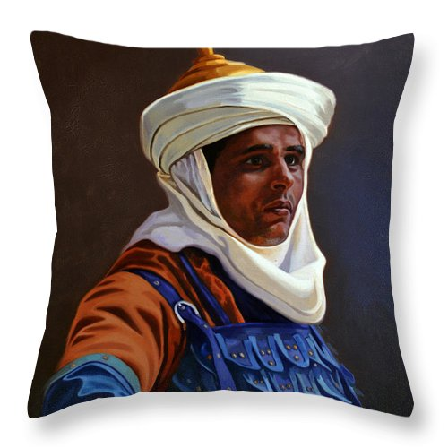 Orientalist Throw Pillow featuring the painting Orientalist 01 by Ahmed Bayomi