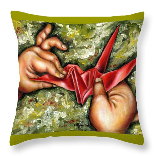Japanese Throw Pillow featuring the painting Origami by Hiroko Sakai