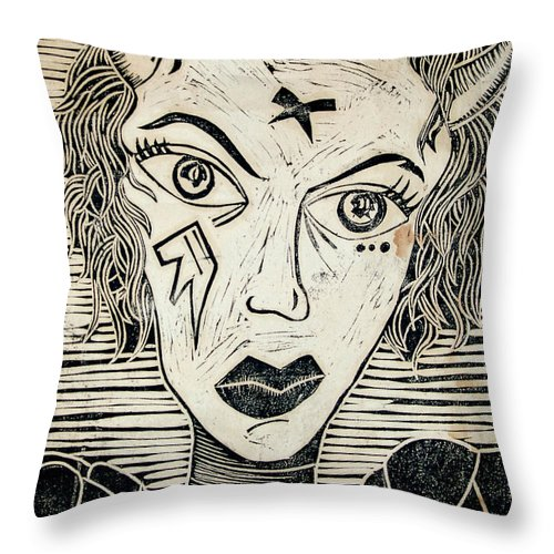 Block Print Throw Pillow featuring the print Original Devil Block Print by Thomas Valentine