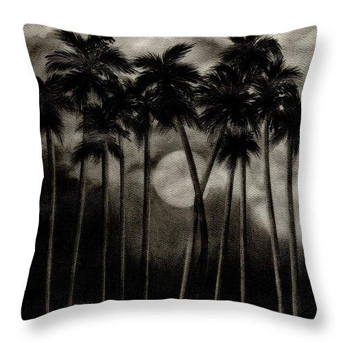 Original Moonlit Palm Trees Throw Pillow featuring the drawing Original Moonlit Palm Trees by Larry Lehman