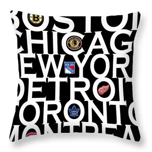 Hockey Throw Pillow featuring the photograph Original Six by Andrew Fare
