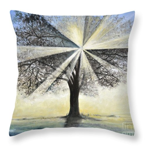 Tree Painting Throw Pillow featuring the painting original Tree Light by Penny Neimiller