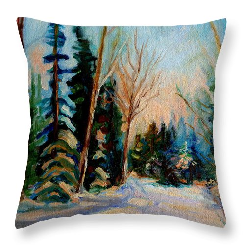Ormstown Quebec Winter Road Throw Pillow featuring the painting Ormstown Quebec Winter Road by Carole Spandau