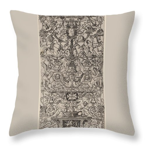 Throw Pillow featuring the drawing Ornament Panel: Mars, God Of Battles by Nicoletto Da Modena